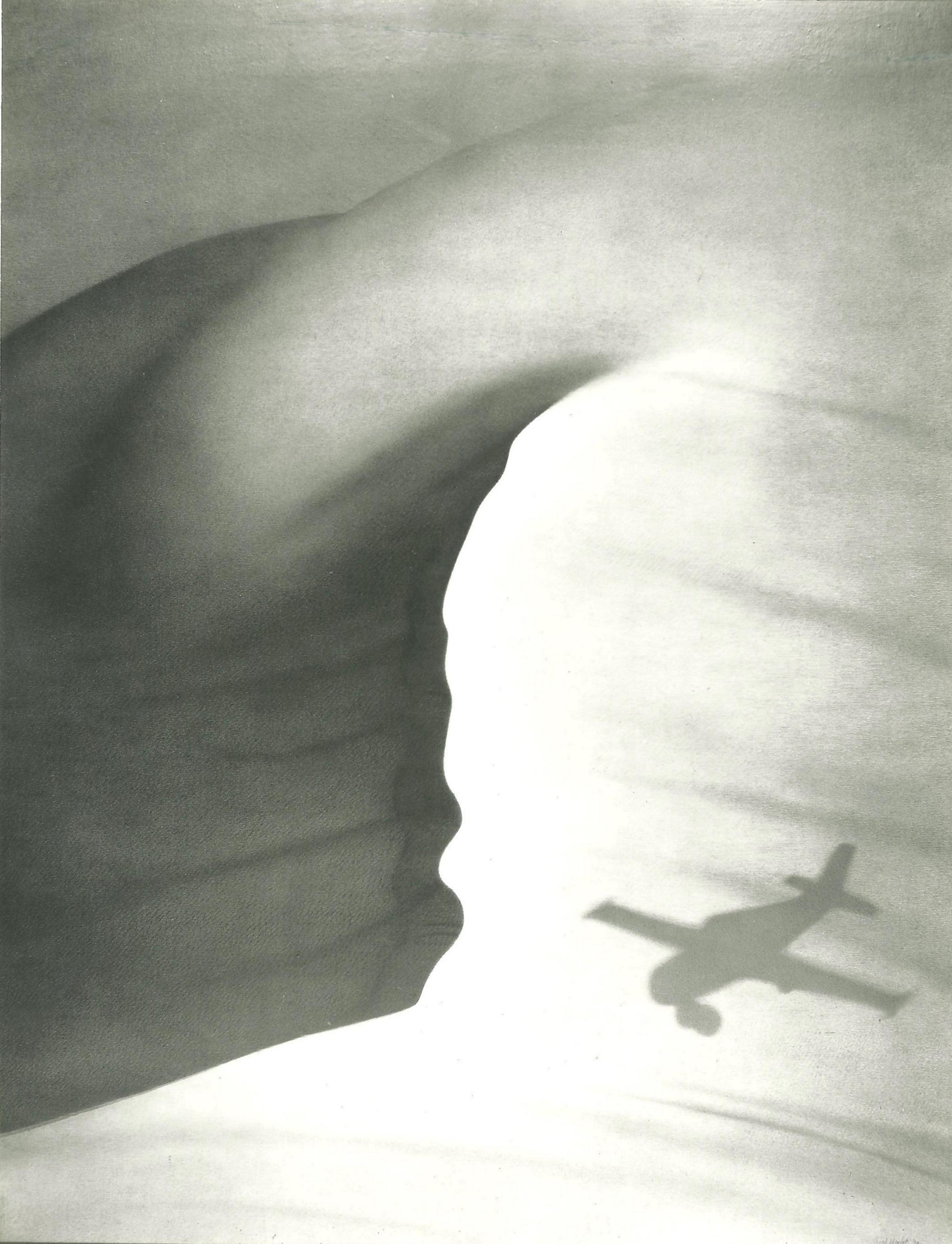 Woestijn met vliegtuigschaduw (155x120)